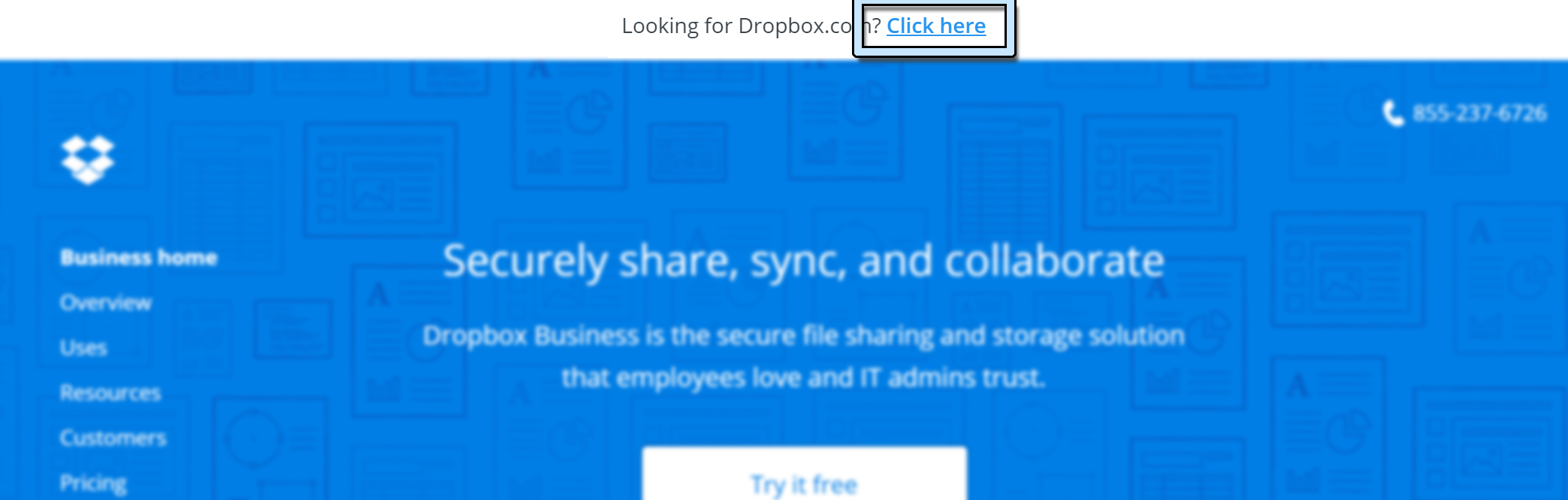 Dropbox For Business首页